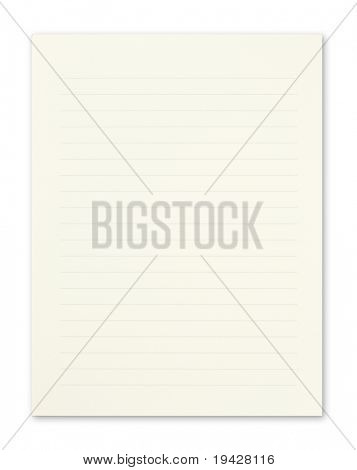 Cream color pad of paper with lines, isolated on pure white.