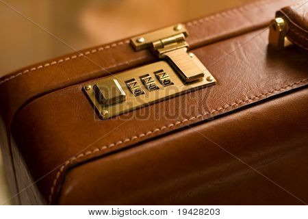 Leather brief case with dial at 777