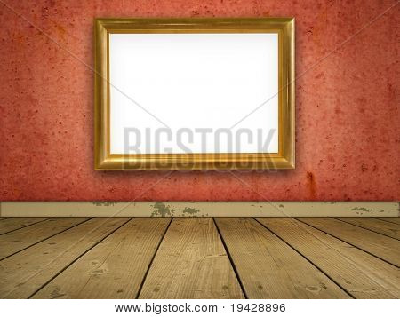 grungy red room with blank gold frame.
