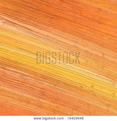 Orange oil painting texture. High magnification.