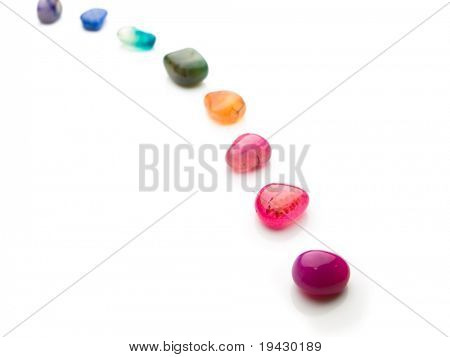 Trail of colorful natural gem stones