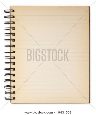 Old note book isolated on white. Not an photo editing effect, really an old note book.