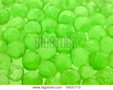 Green polymer gel spheres with depth of field
