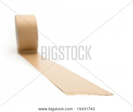 A line of brown packaging tape with depth of field
