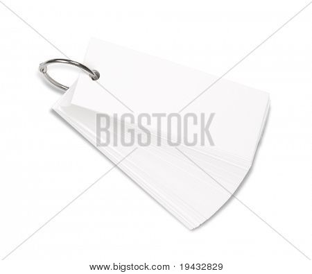 Blank ring memo isolated on white.
