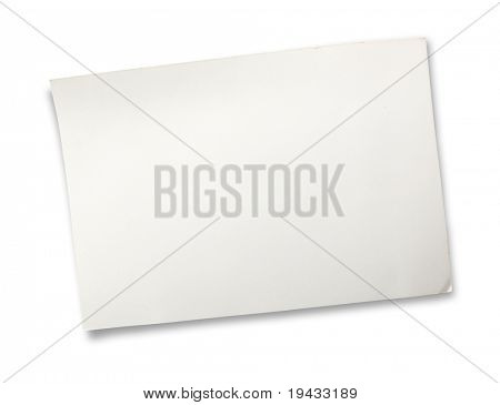 old white card board isolated on white.