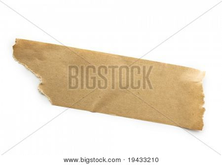 Brown packaging tape isolated on white.