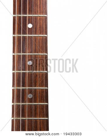 Electric guitar fret board closeup. Isolated on white.
