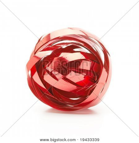 Ball of red ribbon isolated on white.