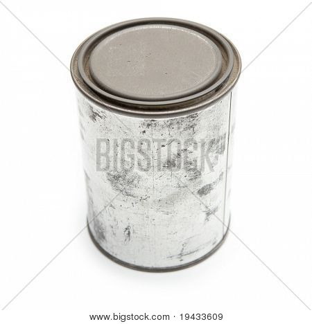 old blank tin paint can isolated on white.