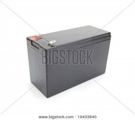 Industrial rechargeable battery unit isolated on white.