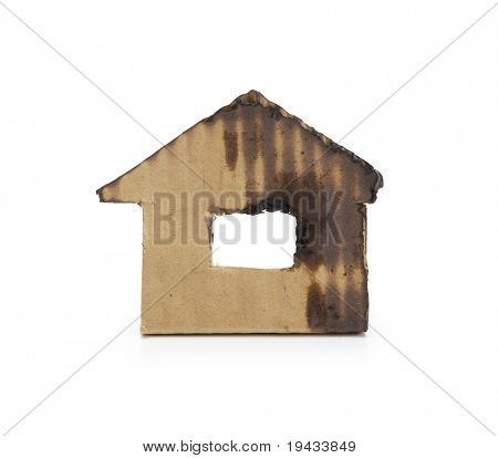 A burnt or extinguished house. isolated on white.