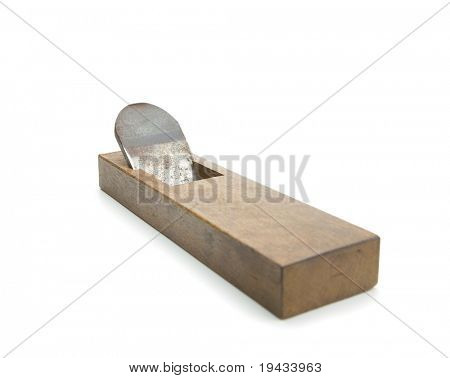 Very old asian wood plane, Isolated on white