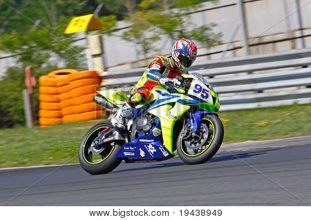 HUNGARORING, HUNGARY - JUNE 19: An unidentified rider in action during ROSBK event at Hungaroring Race Track on June 19,  2009 in Hungaroring, Hungary.