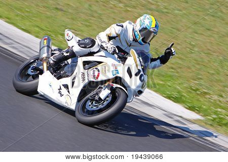 HUNGARORING, HUNGARY - JUNE 19: An unidentified rider raises a finger during ROSBK event at Hungaroring Race Track on June 19,  2009 in Hungaroring, Hungary.