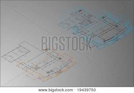 3D vector technical draw