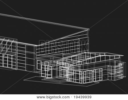 3D vector of garage and part of house