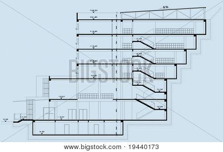 black architectural plan on blue background