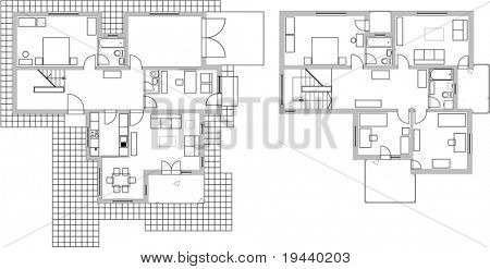vector draw of home plan in two levels