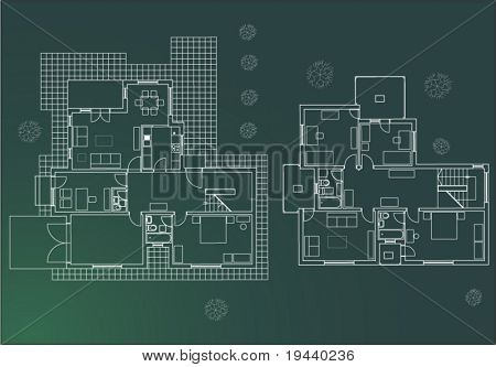 vector architectural plan in green print