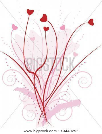 love bucket with hearth flower - vector illustration