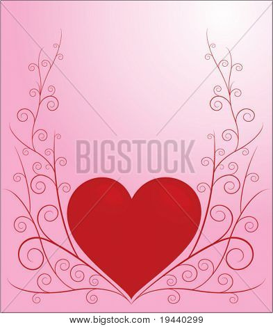 valentine illustration of hearth with swirly lines around - vector