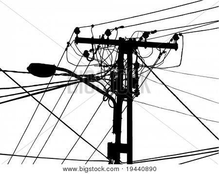 lámpara con el manojo de cables de alimentación