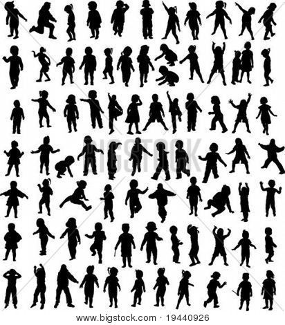 nieuwe set van kinderen silhouet - vector