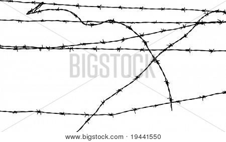 barb fence silhouette vector