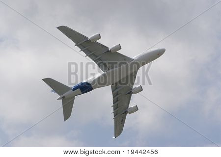 Airbus A380 in the Air without trademarks