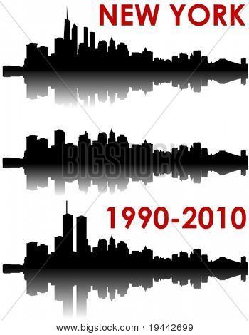 New York Skyline 1990-2010 - old World Trade Center, without and with the new WTC
