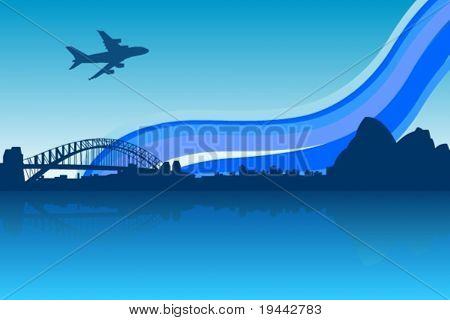 Blue City background with A380 over sidney