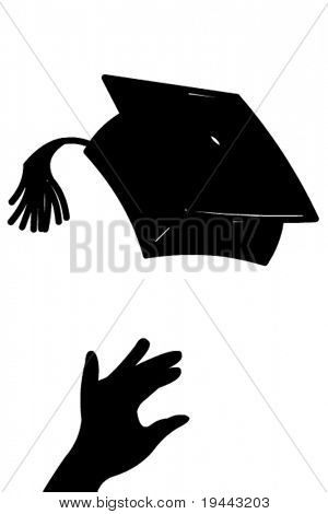 Tossing mortarboard in vector art