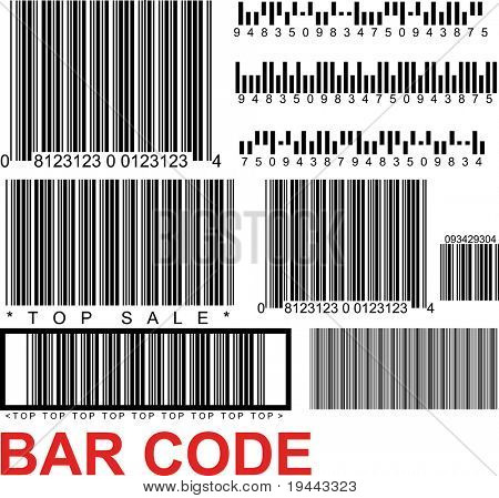 a lot of types of random barcodes