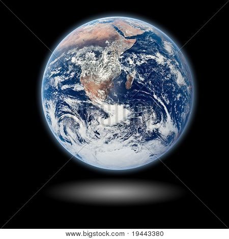 Earth Model with black background and shadow