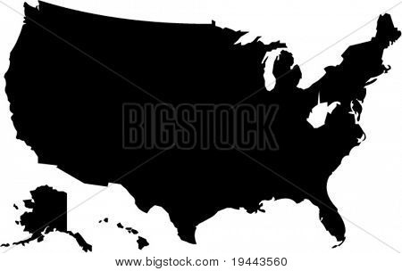 shape of american map in vector art