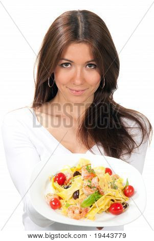 Woman Chef Holding The Plate With Italian Pasta