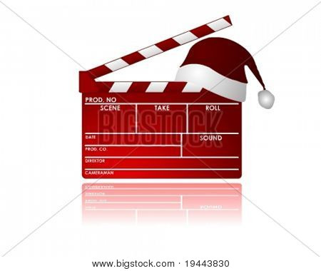 red christmas Clapboard in vector design