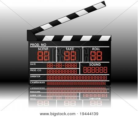 digital clapperboard in vector art and backgorund