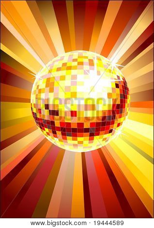 yellow red disco ball