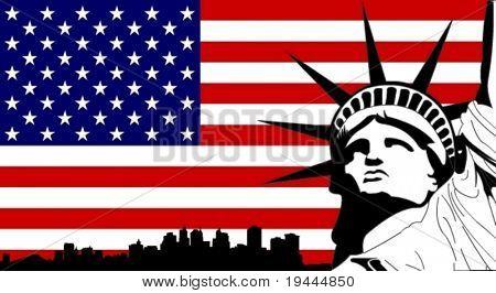 Estatua de la libertad en la bandera de Estados Unidos con la silueta de Nueva York