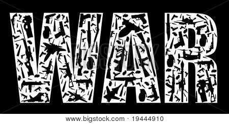 War Slogan build with weapons in vector art