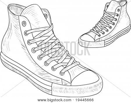 Sport shoes drawn by hand!