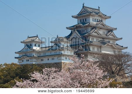 Landscape view of the main tower of Himeji Castle on the hillside during the daytime with bonsai pine trees of the castle gardens in the foreground and blue sky in the background