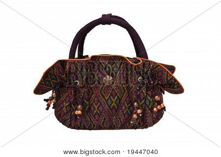 Thai Silk Handbag Isolated On White Background