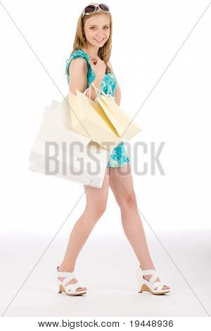 Shopping Teenager Happy Woman In Summer Dress