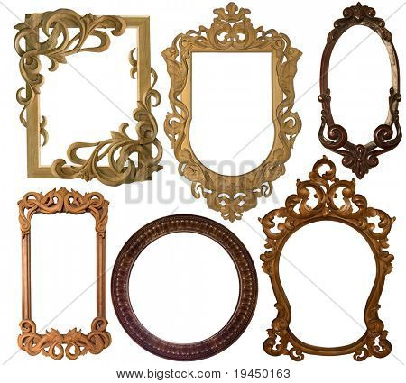 collection picture  carved  frame on a white