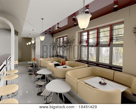 interior cafe,  3d render