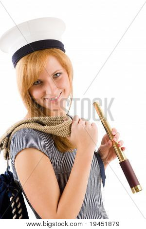 Young Marine Woman With Spyglass In Sailor Hat