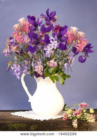 bouquet of flowers iris and aquilegia